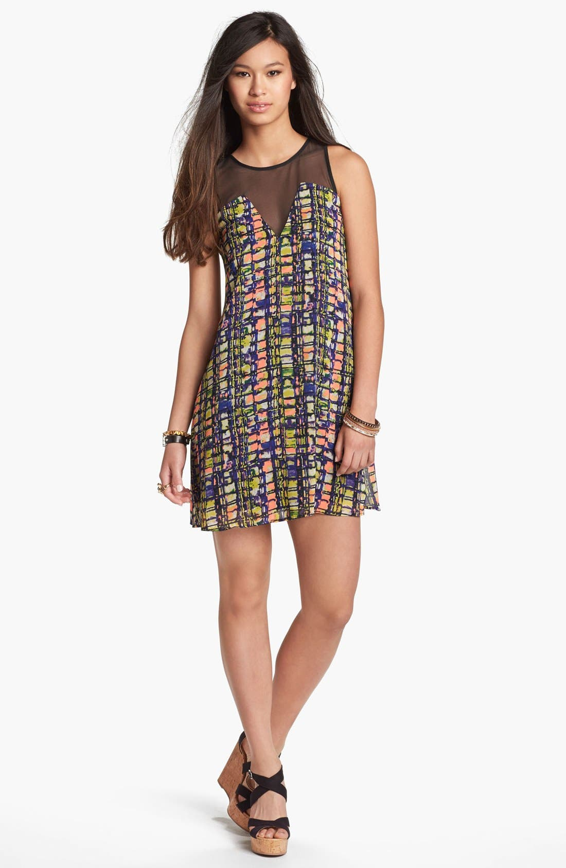 Alternate Image 1 Selected - Lush Illusion Print Shift Dress (Juniors)