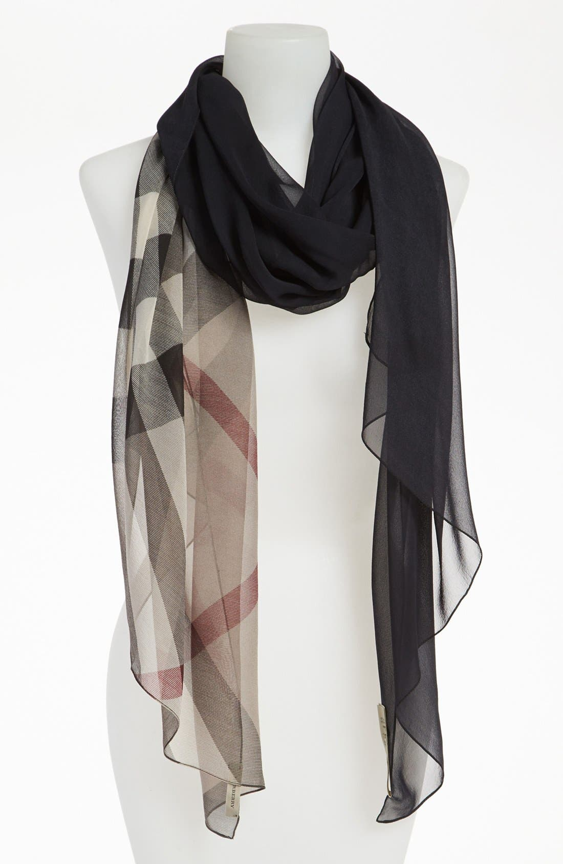 Alternate Image 1 Selected - Burberry Ombré Check Silk Scarf