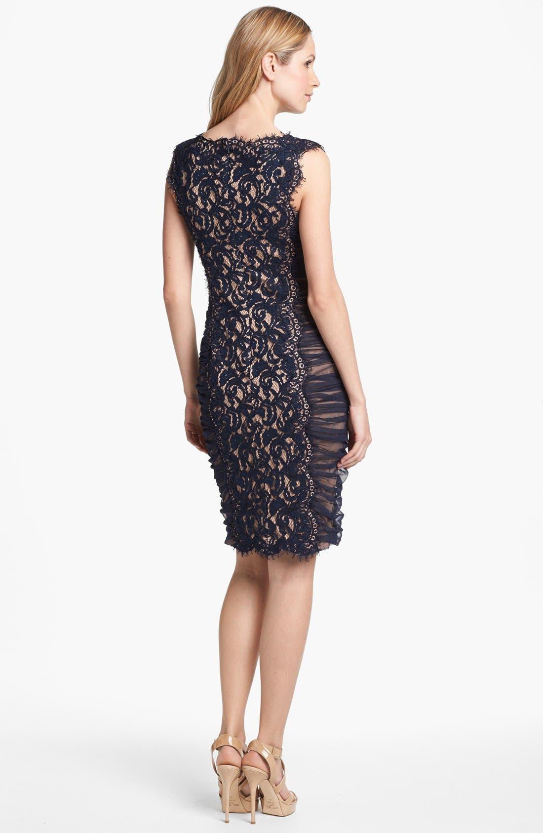 Alternate Image 2  - Tadashi Shoji Side Ruched Lace Sheath Dress