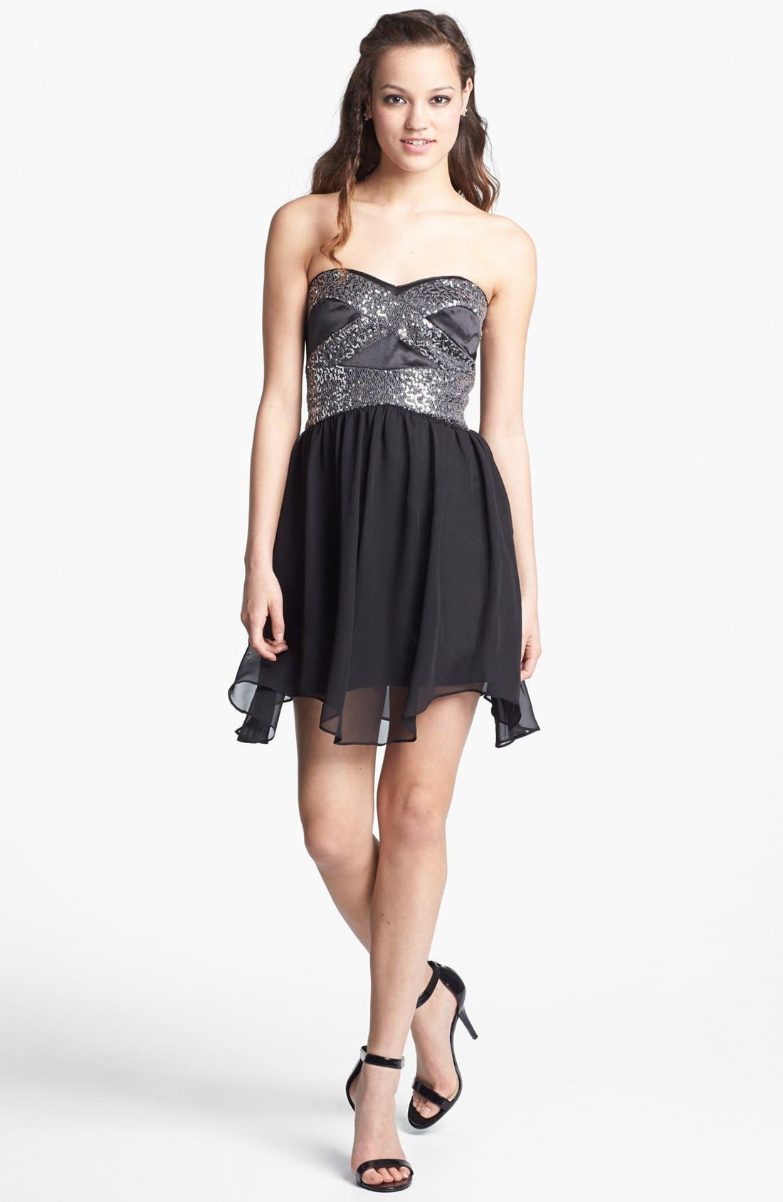 Alternate Image 1 Selected - Hailey Logan Embellished Fit & Flare Dress (Juniors) (Online Only)