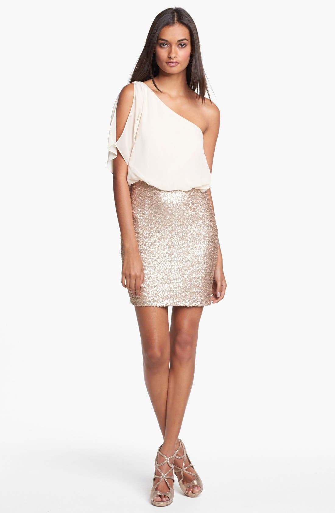 Alternate Image 1 Selected - Aidan Mattox One Shoulder Mixed Media Dress