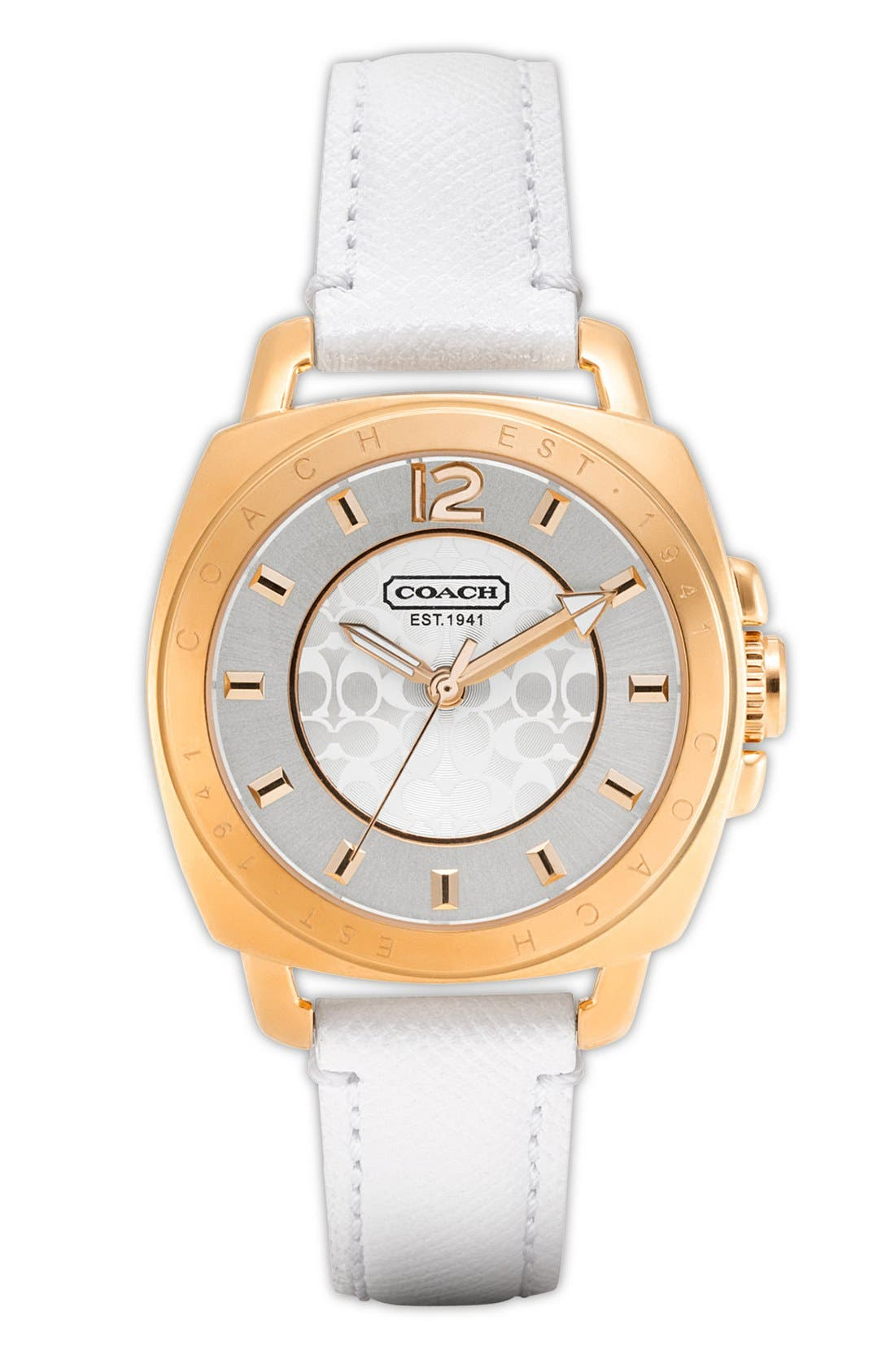 Alternate Image 1 Selected - COACH 'Boyfriend - Small' Leather Strap Watch, 35mm