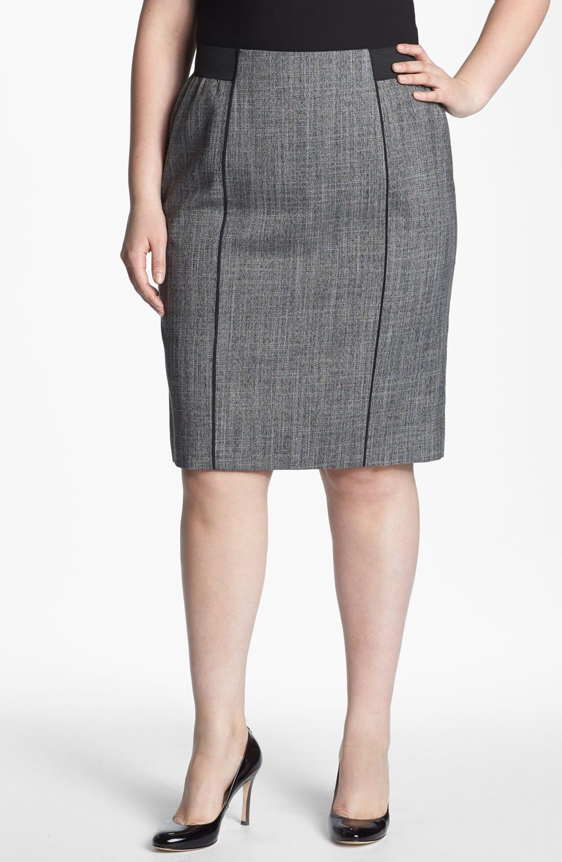 Alternate Image 1 Selected - Sejour 'Gibson' Piped Pencil Skirt (Plus Size)
