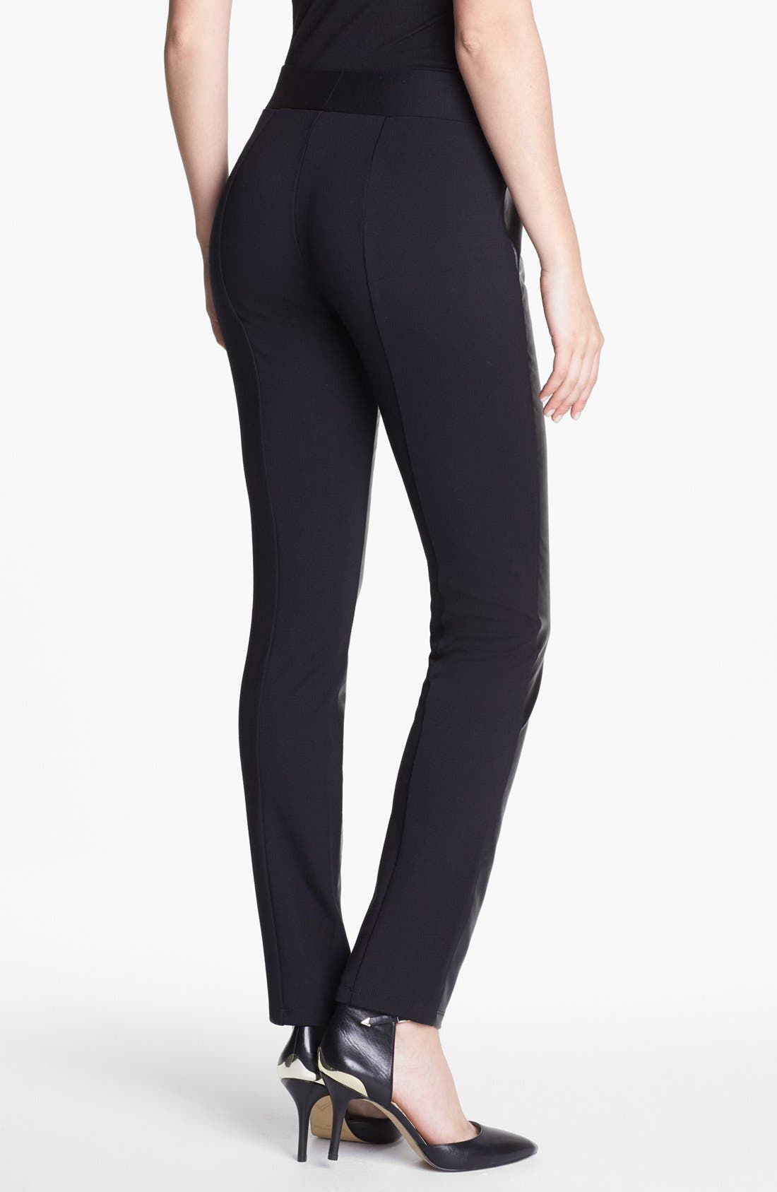 Alternate Image 2  - NYDJ Faux Leather & Stretch Ponte Leggings (Regular & Petite)