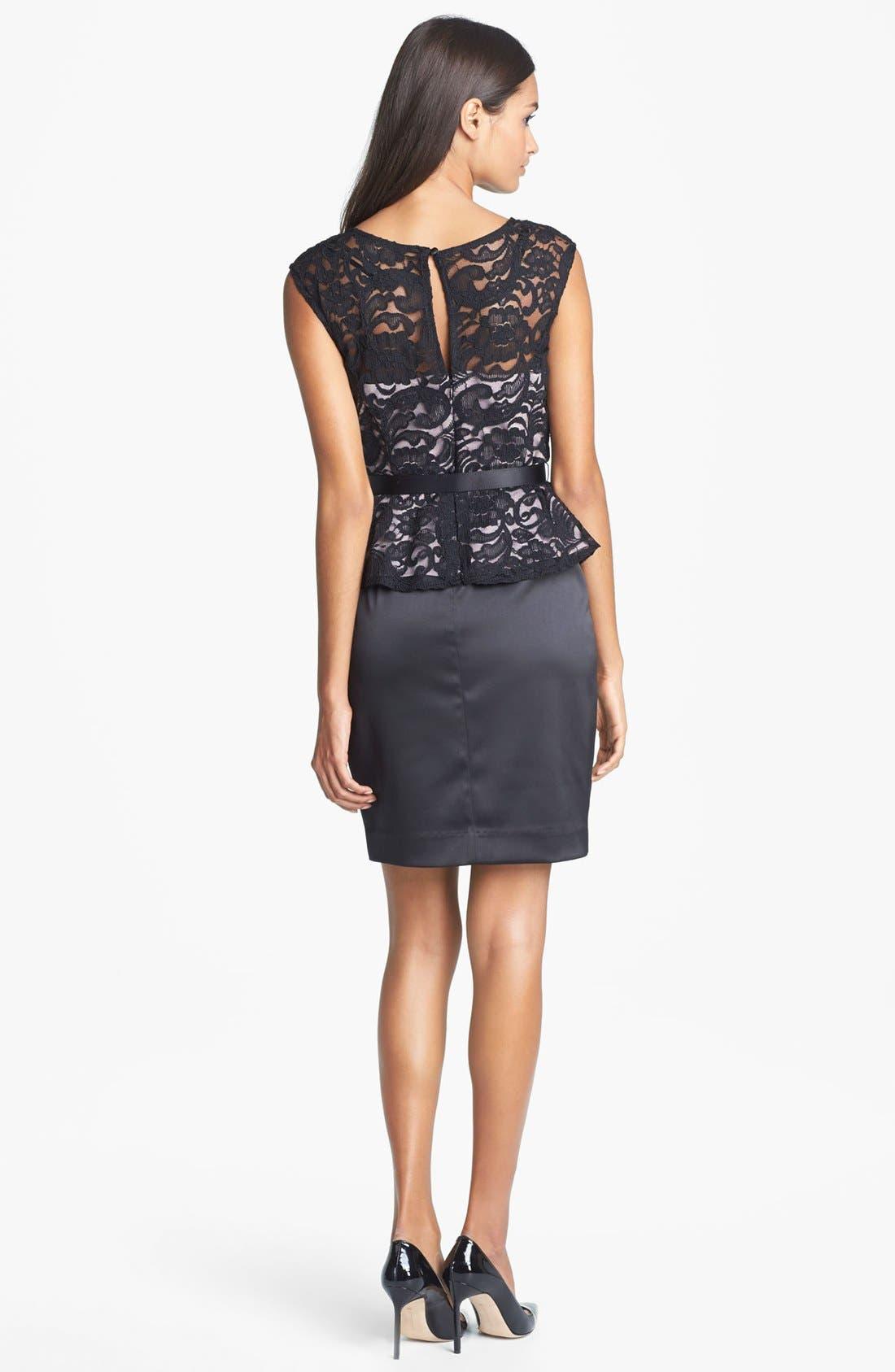 Alternate Image 2  - Xscape Mixed Media Peplum Dress (Petite)