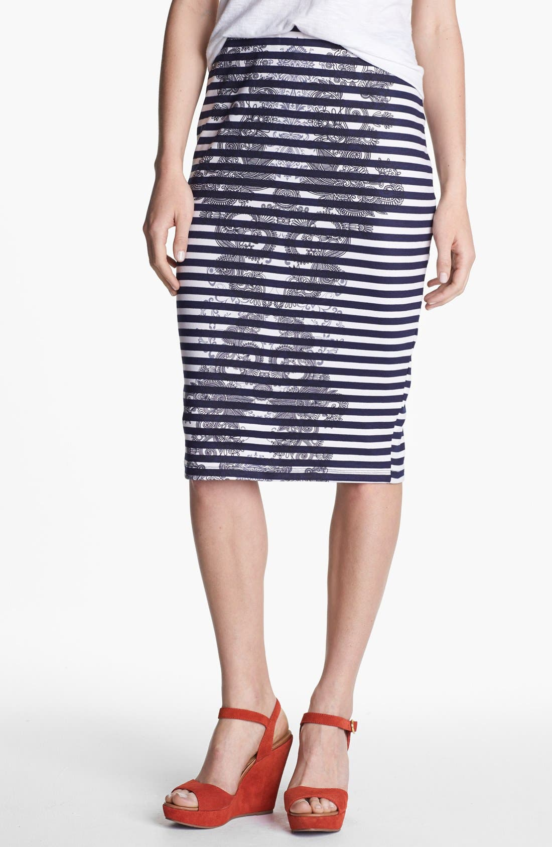 Alternate Image 1 Selected - Bobeau Print Ponte Knit Pencil Skirt