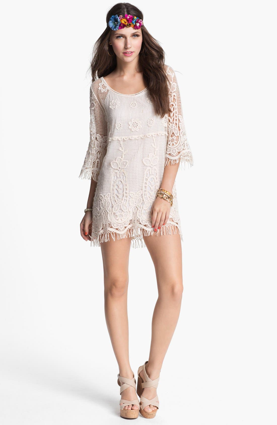Alternate Image 1 Selected - Mimi Chica Crochet Tunic (Juniors)