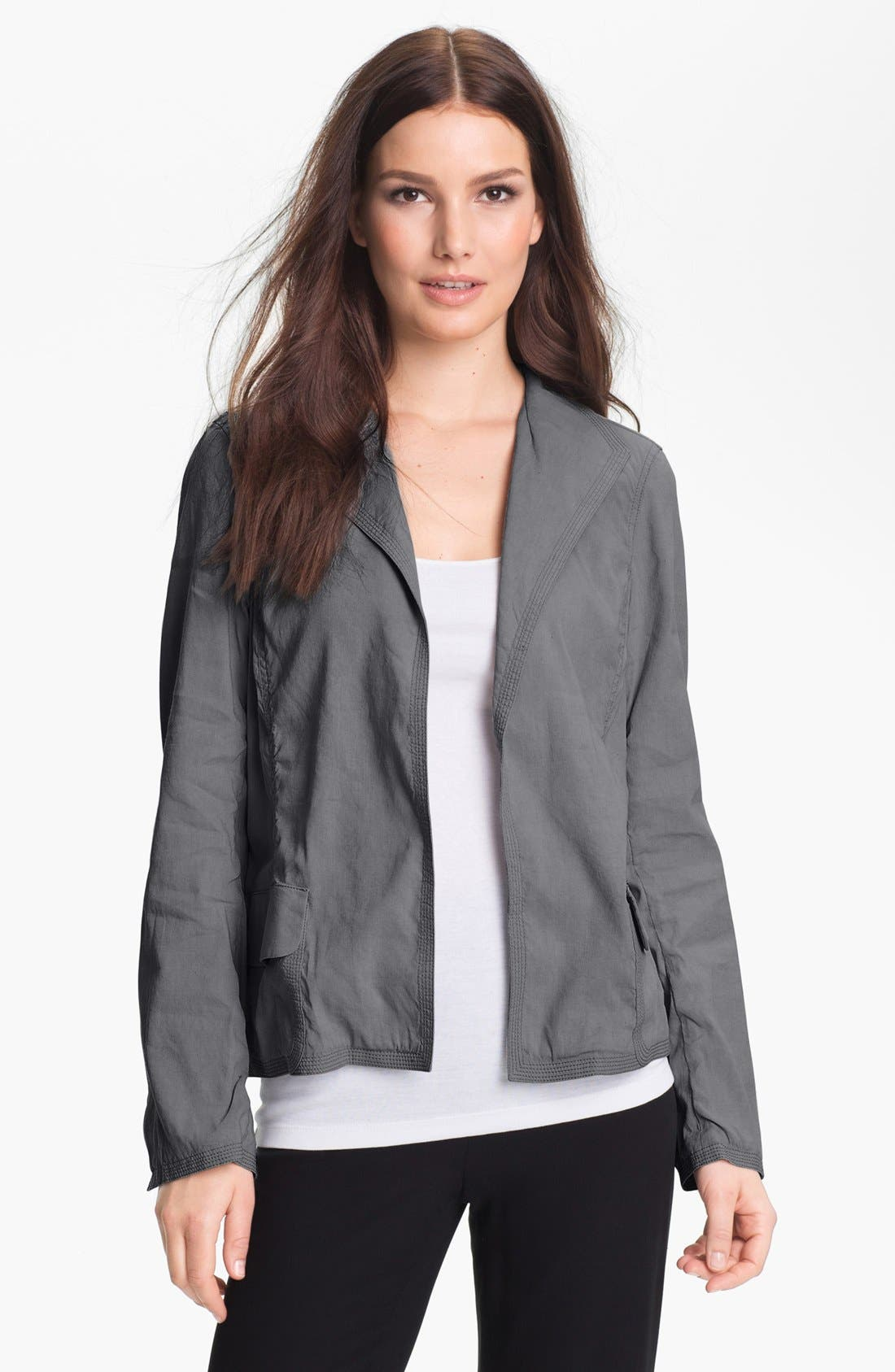 Alternate Image 1 Selected - Eileen Fisher Stand Collar Jacket (Petite)