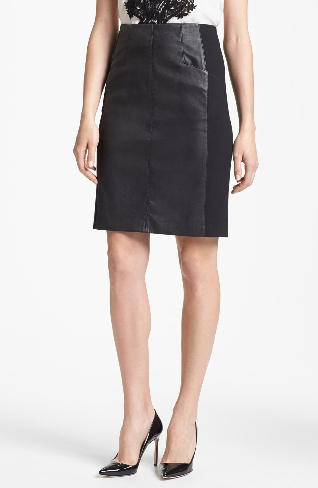 Main Image - Nanette Lepore 'Mime' Leather & Knit Skirt