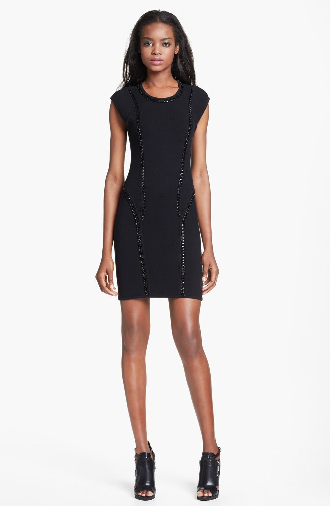 Main Image - Milly 'Ditta' Chain Detail Merino Wool & Cotton Body-Con Dress