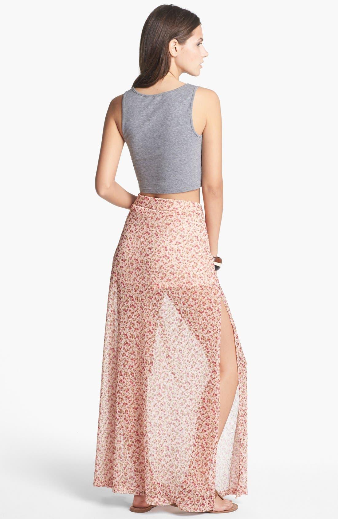 Alternate Image 2  - Mimi Chica Print Sheer Maxi Skirt (Juniors)