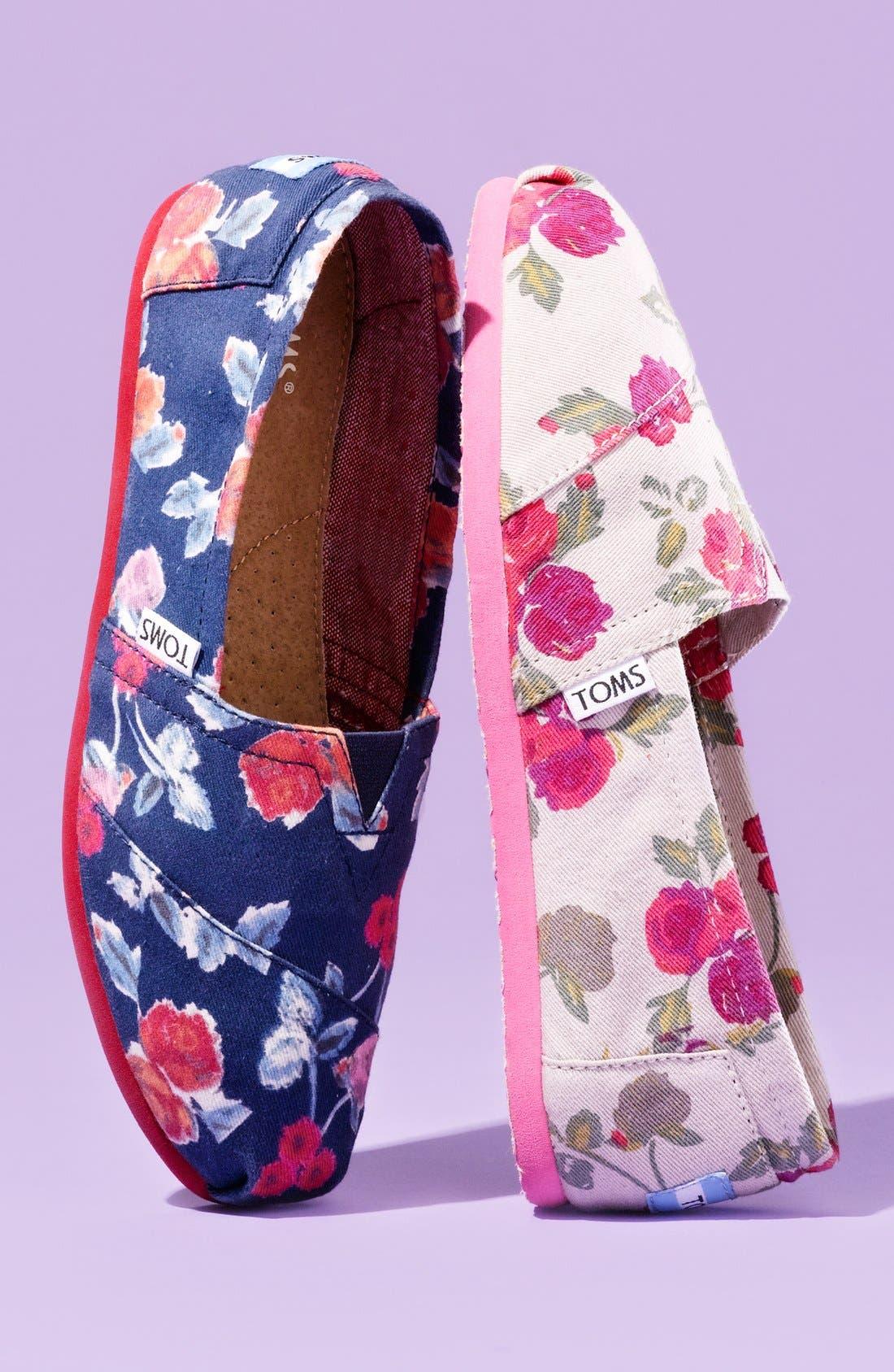 Alternate Image 5  - TOMS 'Classic - Navy Floral' Slip-On (Women)
