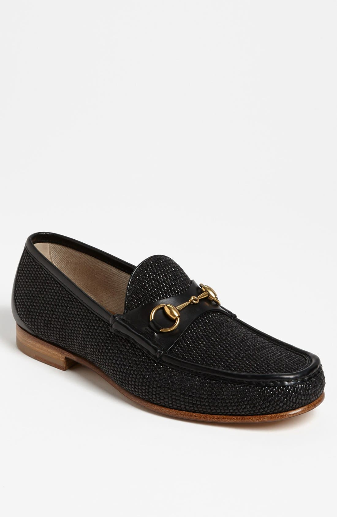 Alternate Image 1 Selected - Gucci 'Roos' Straw Bit Loafer