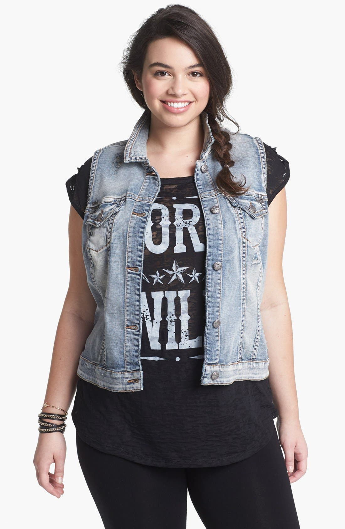 Main Image - Silver Jeans Co. Denim Vest (Juniors Plus)