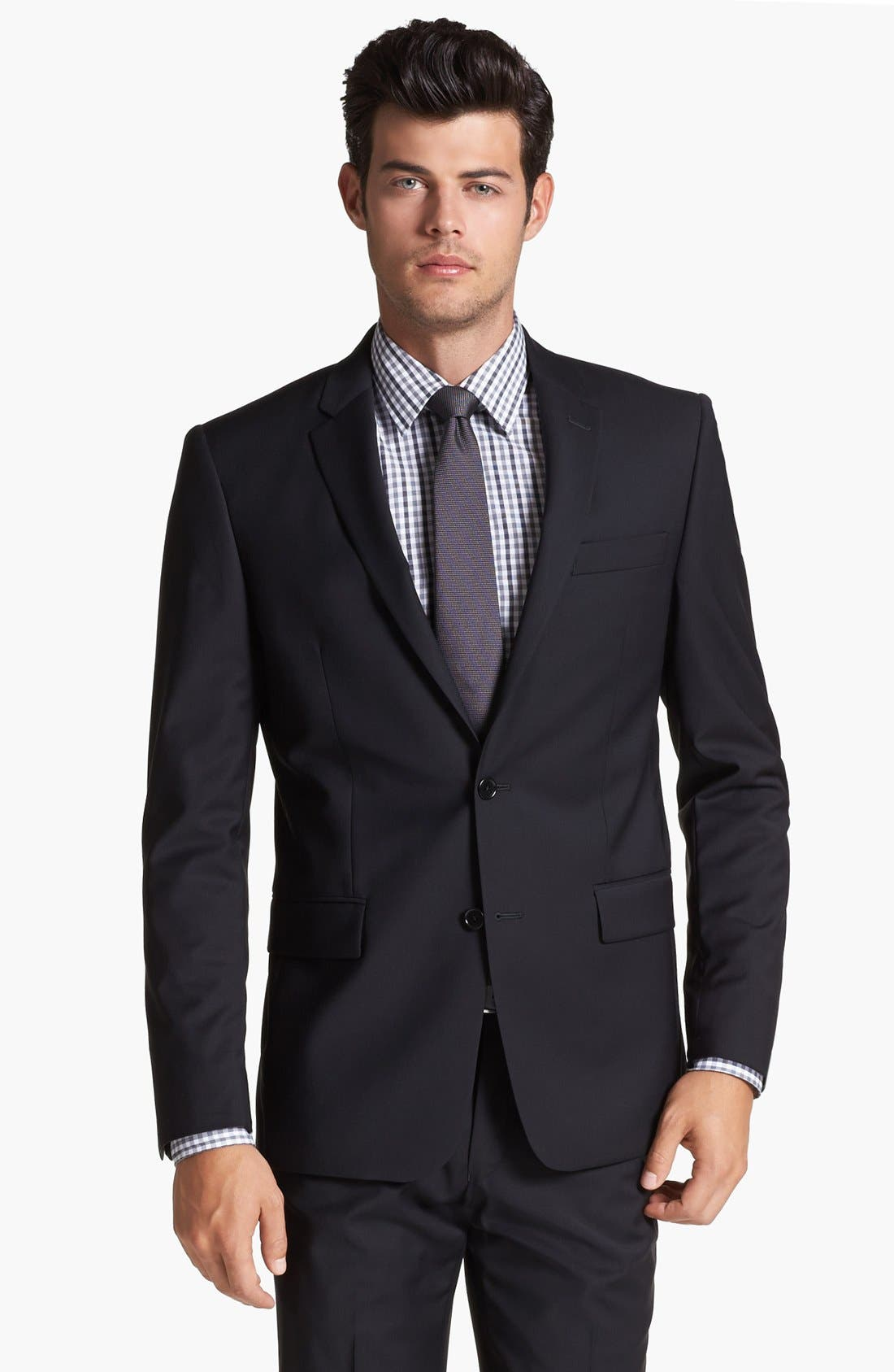 Main Image - John Varvatos Star USA 'Townshend' Trim Fit Black Wool Blazer