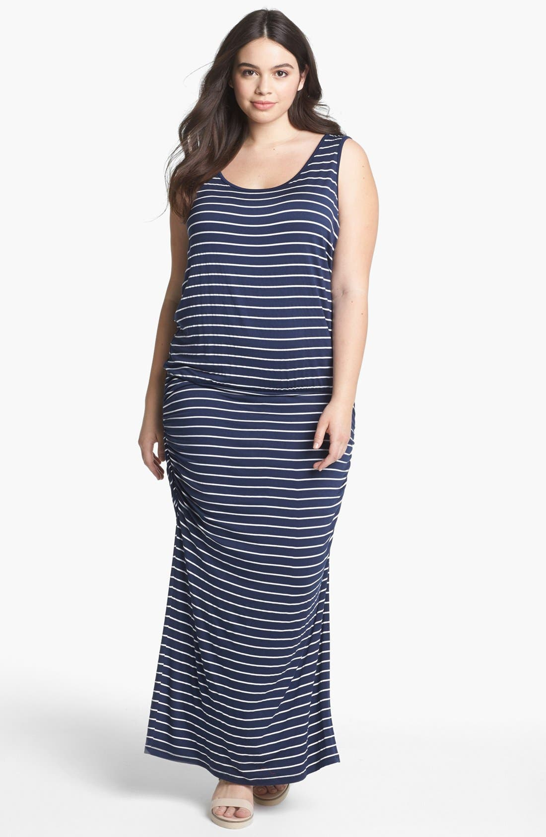 Alternate Image 1 Selected - Olivia Moon Stripe Tank Maxi Dress (Plus Size)