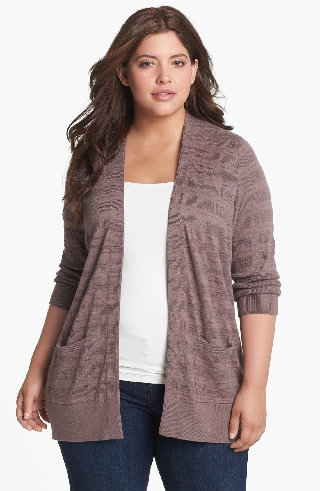 Alternate Image 1 Selected - Sejour Novelty Stitch Cardigan (Plus Size)