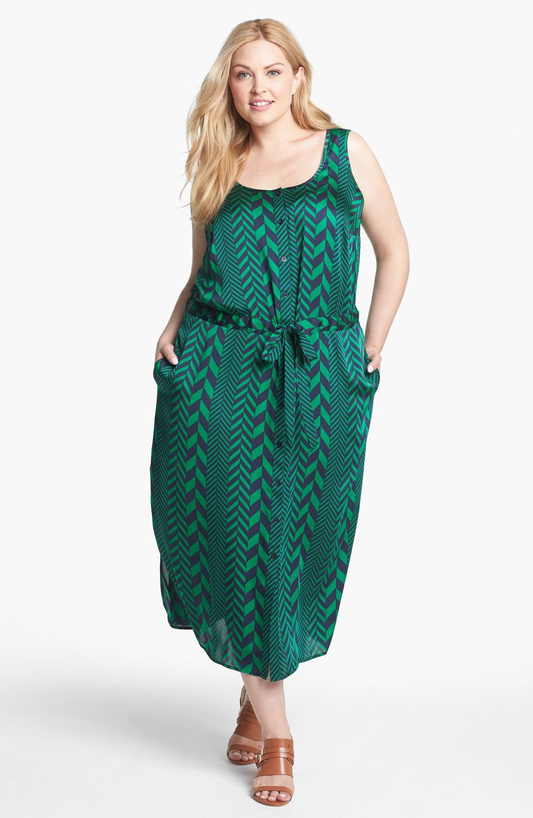 Main Image - MICHAEL Michael Kors 'League Stripe' Tank Dress (Plus Size)