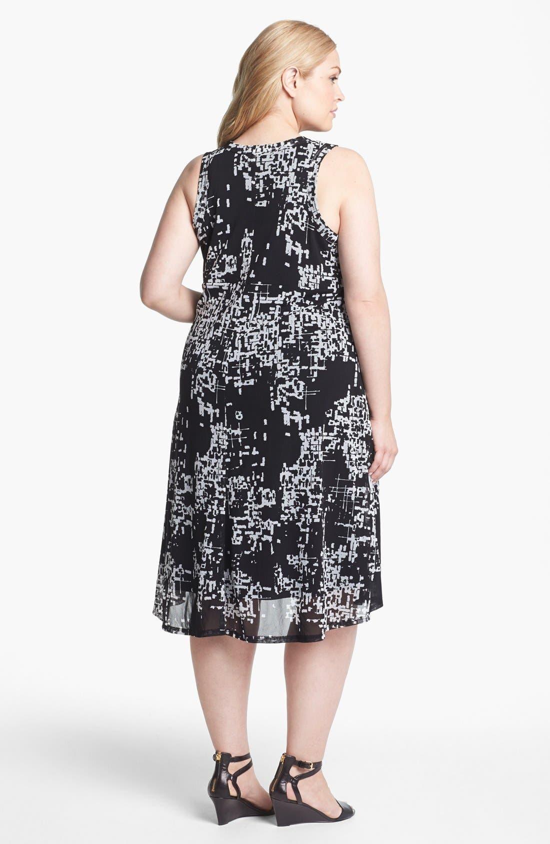 Alternate Image 2  - Karen Kane Print Chiffon A-Line Dress (Plus Size)