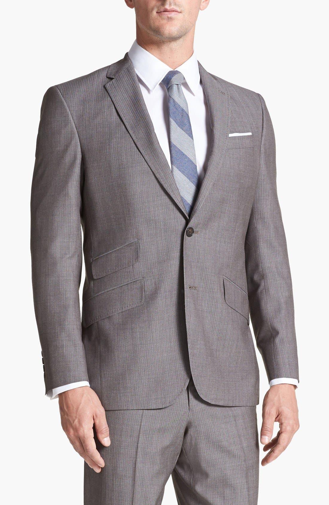 Alternate Image 4  - Ted Baker London 'Jim' Tan Herringbone Wool Suit