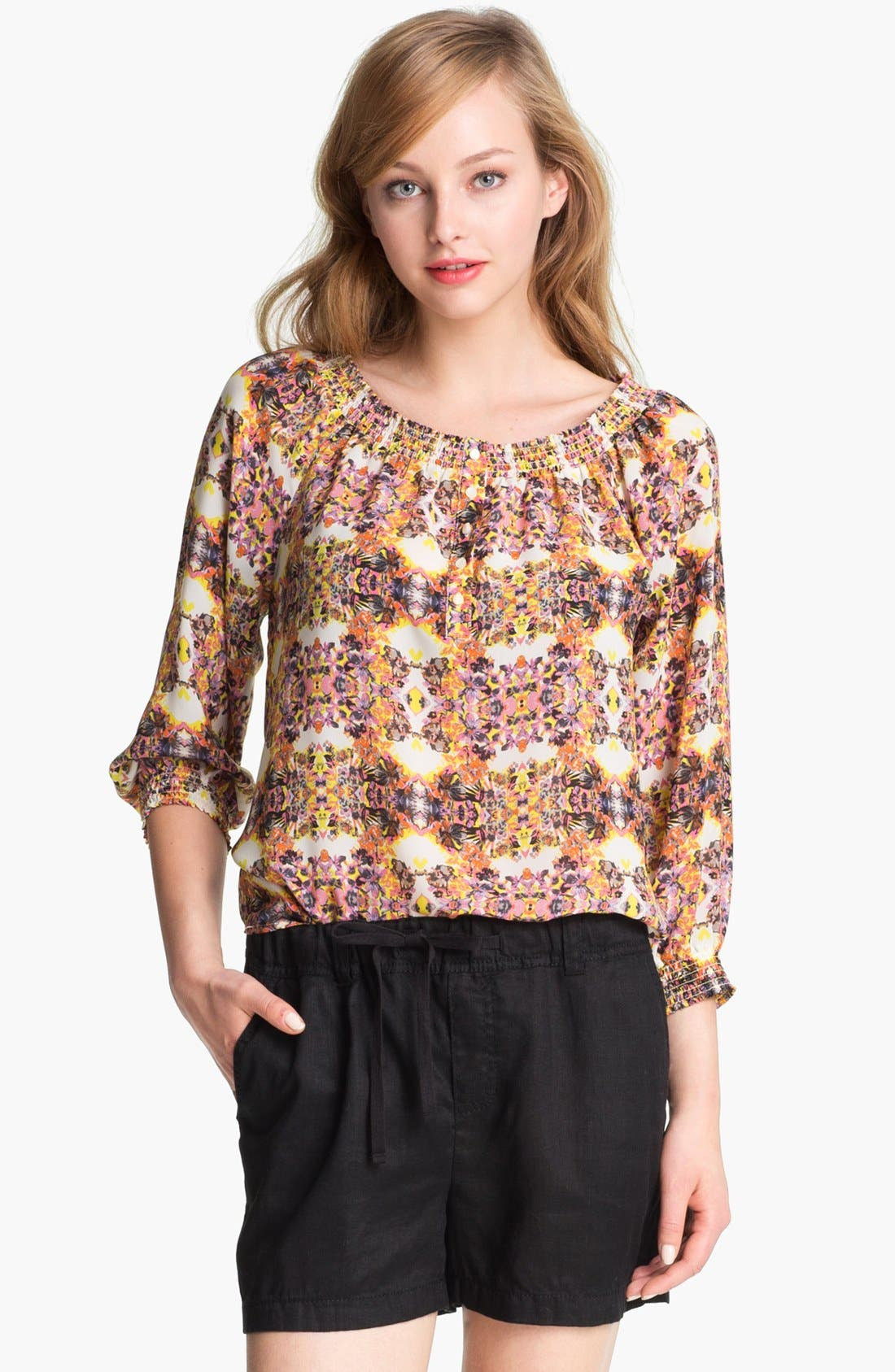Main Image - Caslon® Three Quarter Sleeve Peasant Blouse (Petite)