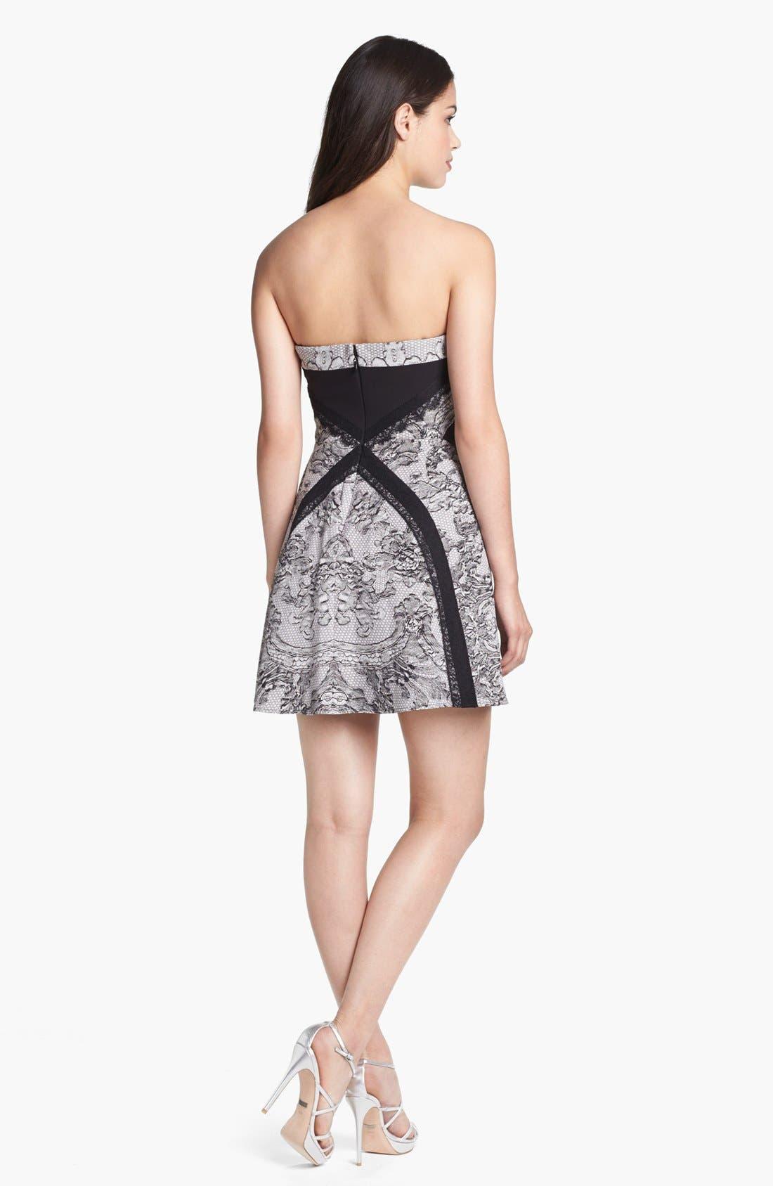 Alternate Image 2  - BCBGMAXAZRIA Lace Print Fit & Flare Dress