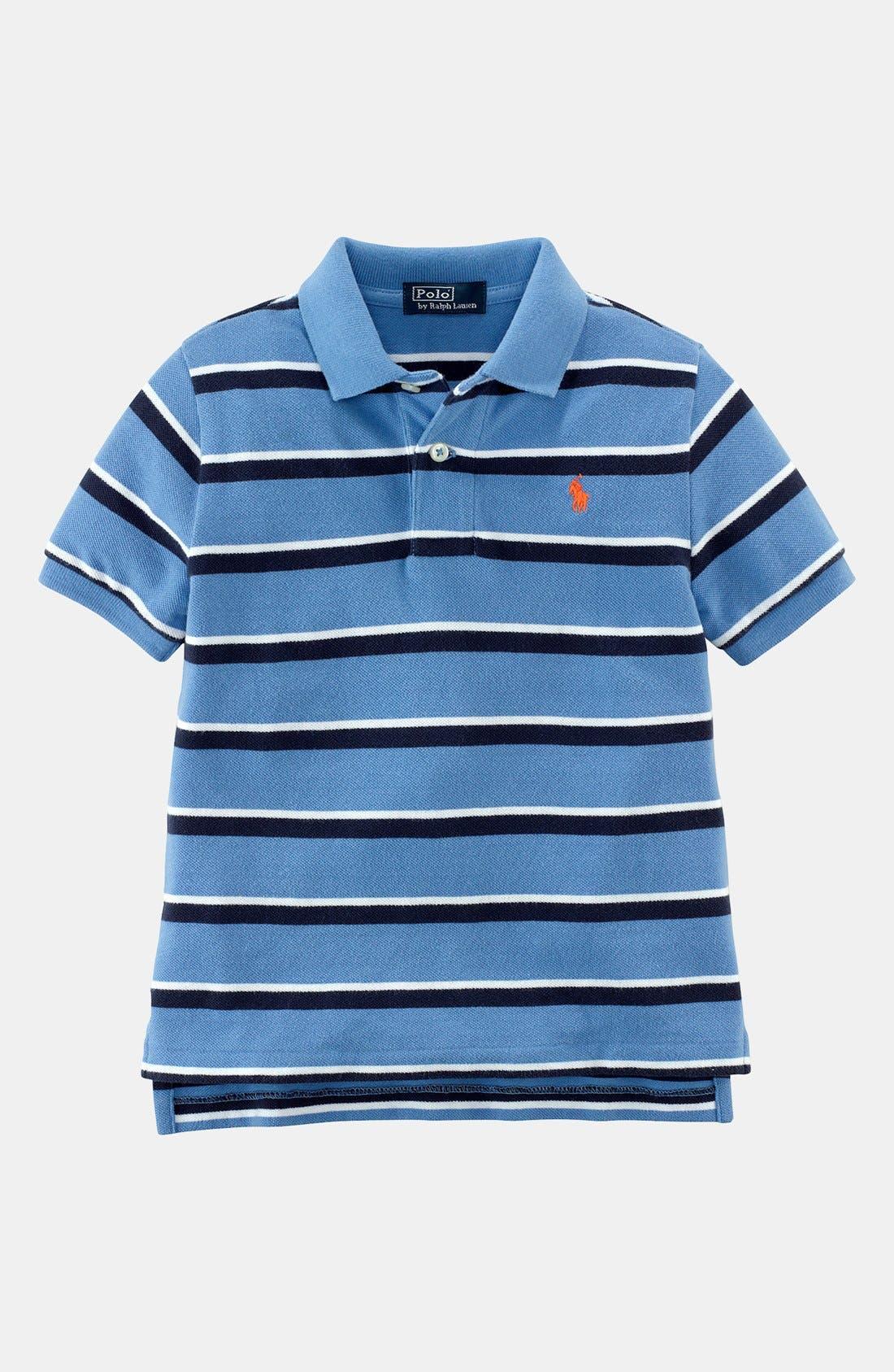 Alternate Image 1 Selected - Ralph Lauren Stripe Polo (Toddler Boys)