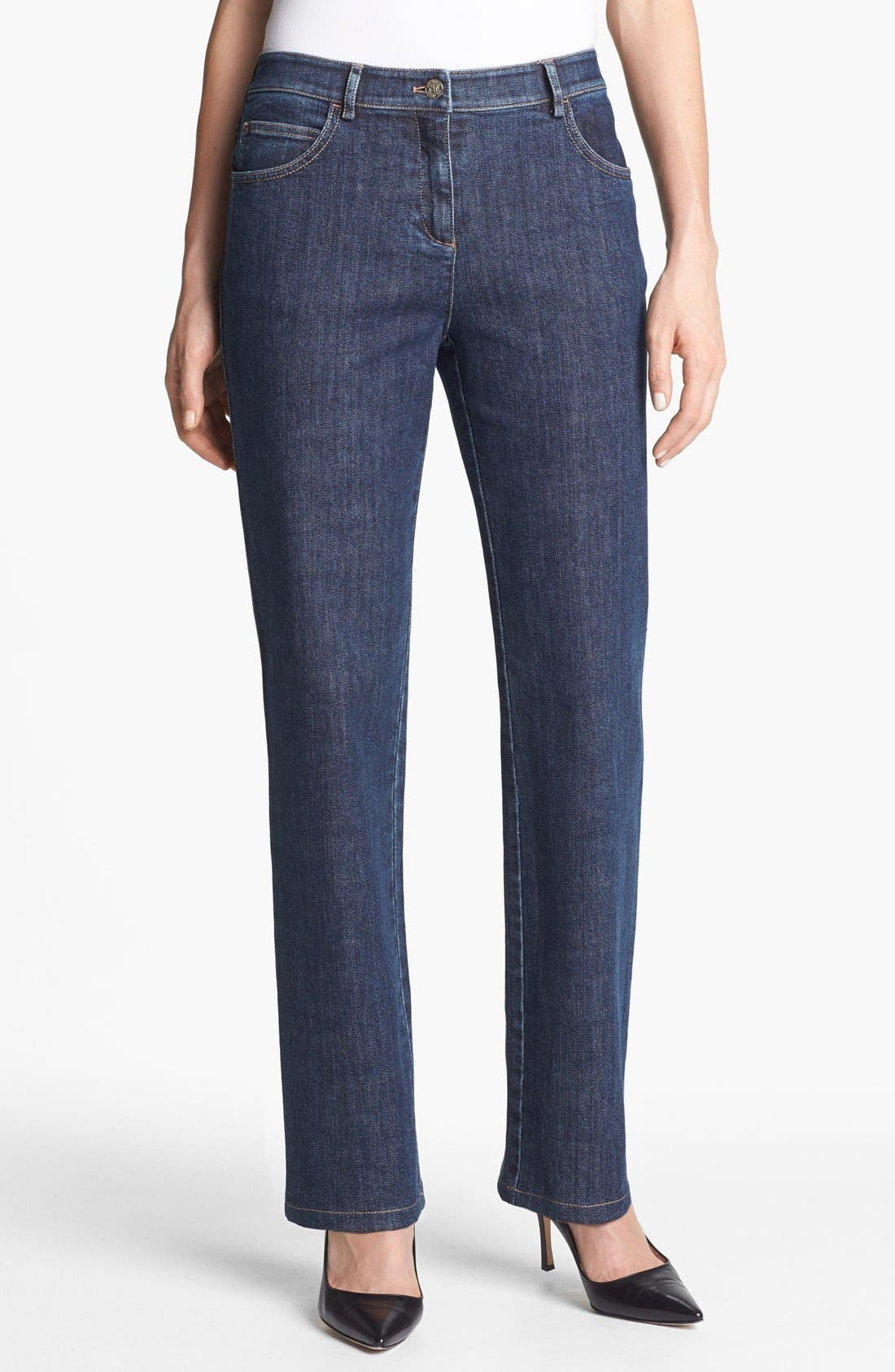 Main Image - St. John Yellow Label 'Marie' Straight Leg Stretch Jeans