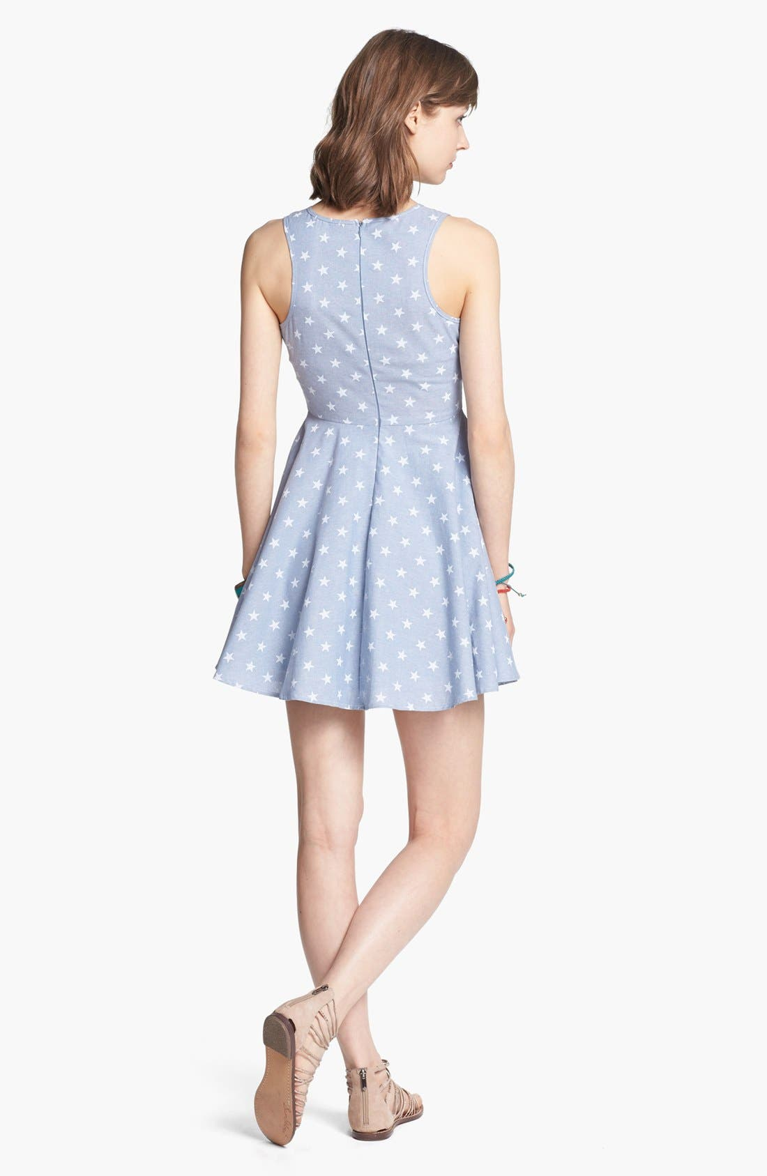Alternate Image 2  - dee elle Star Print Chambray Fit & Flare Dress (Juniors)