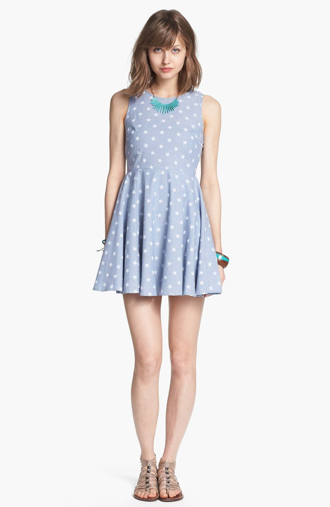 Main Image - dee elle Star Print Chambray Fit & Flare Dress (Juniors)