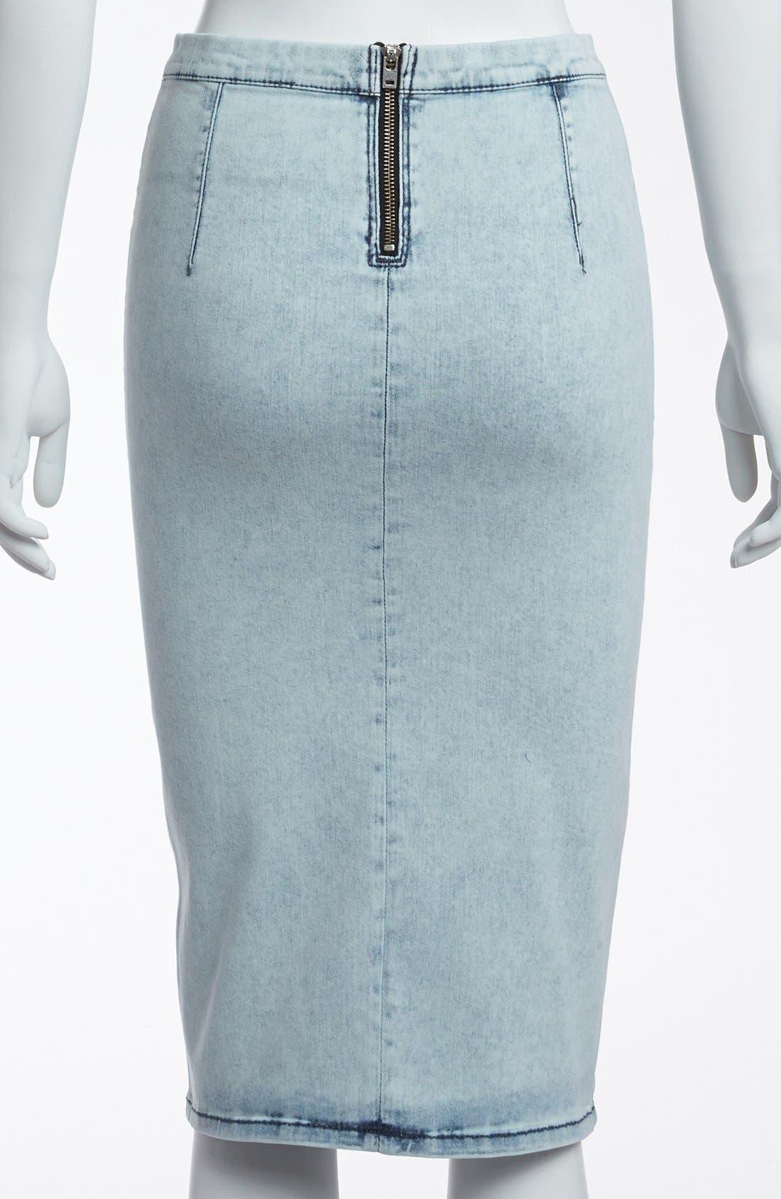 Alternate Image 2  - Topshop 'Joni' Acid Wash Denim Pencil Skirt