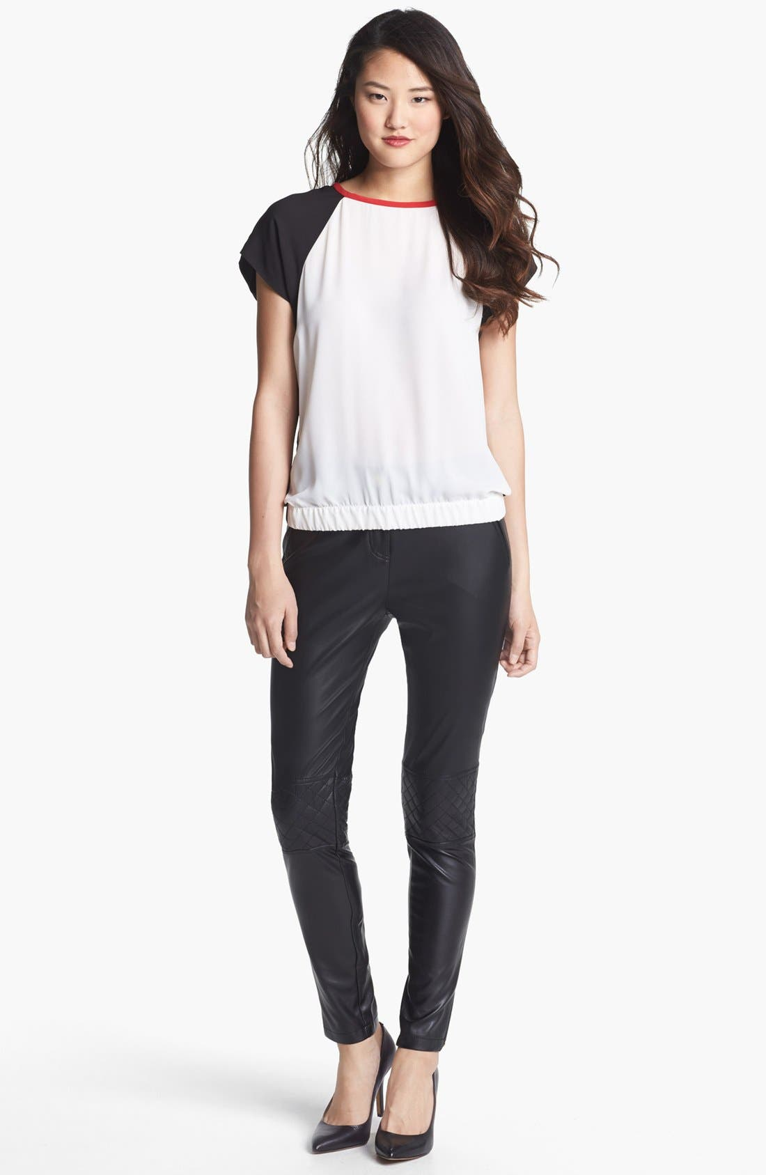 Alternate Image 2  - Vince Camuto Quilted Detail Faux Leather Pants (Regular & Petite)