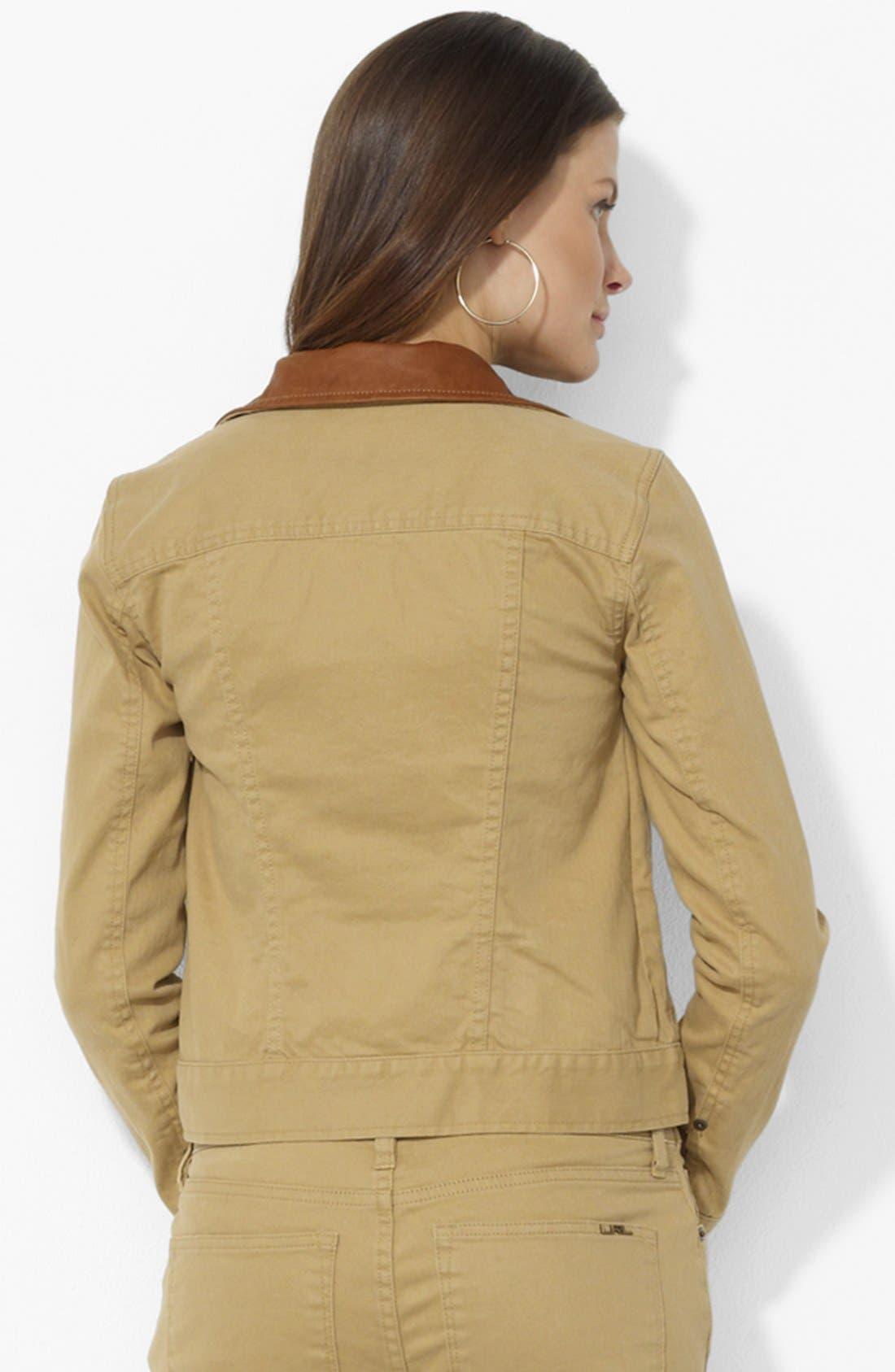Alternate Image 2  - Lauren Ralph Lauren Leather Collar Jean Jacket (Petite)