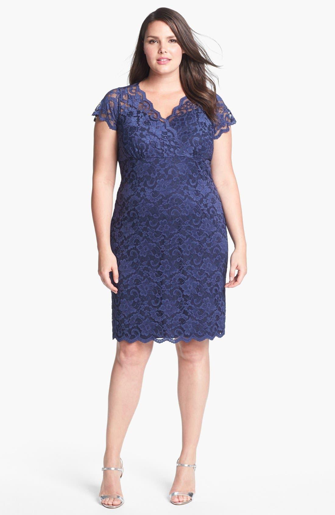 Alternate Image 2  - MARINA Lace Sheath Dress (Plus Size)