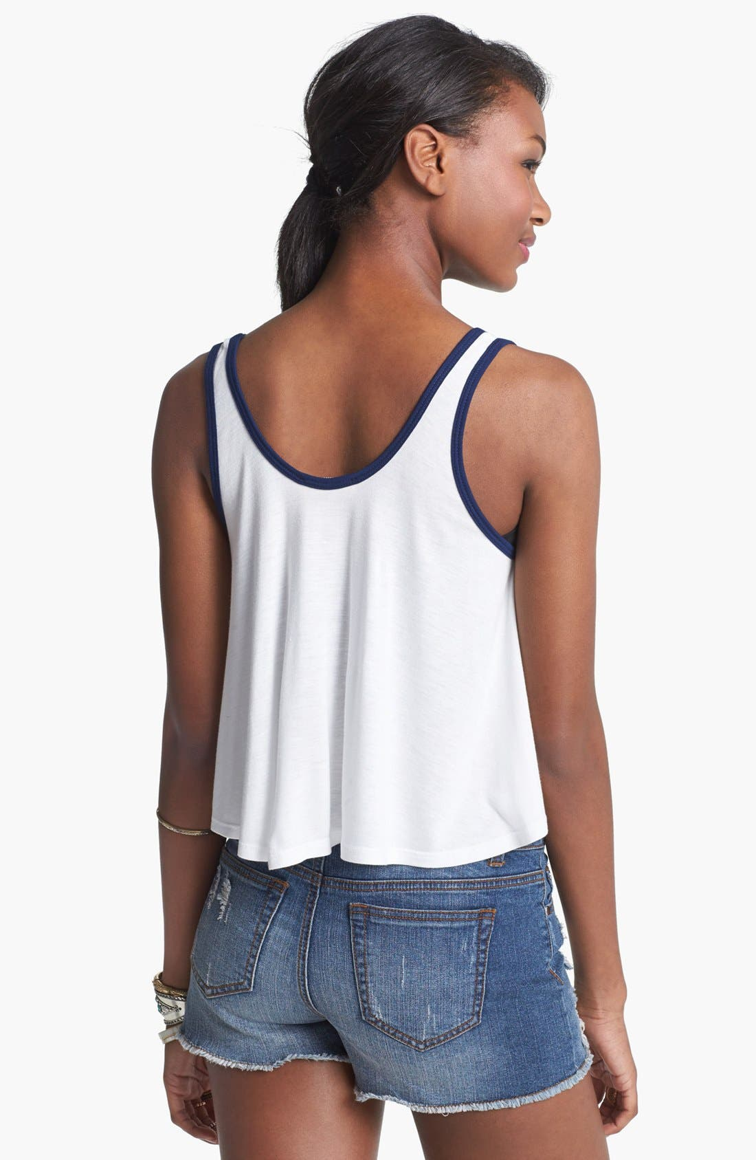 Alternate Image 2  - Elodie Print Trim Crop Tank (Juniors)