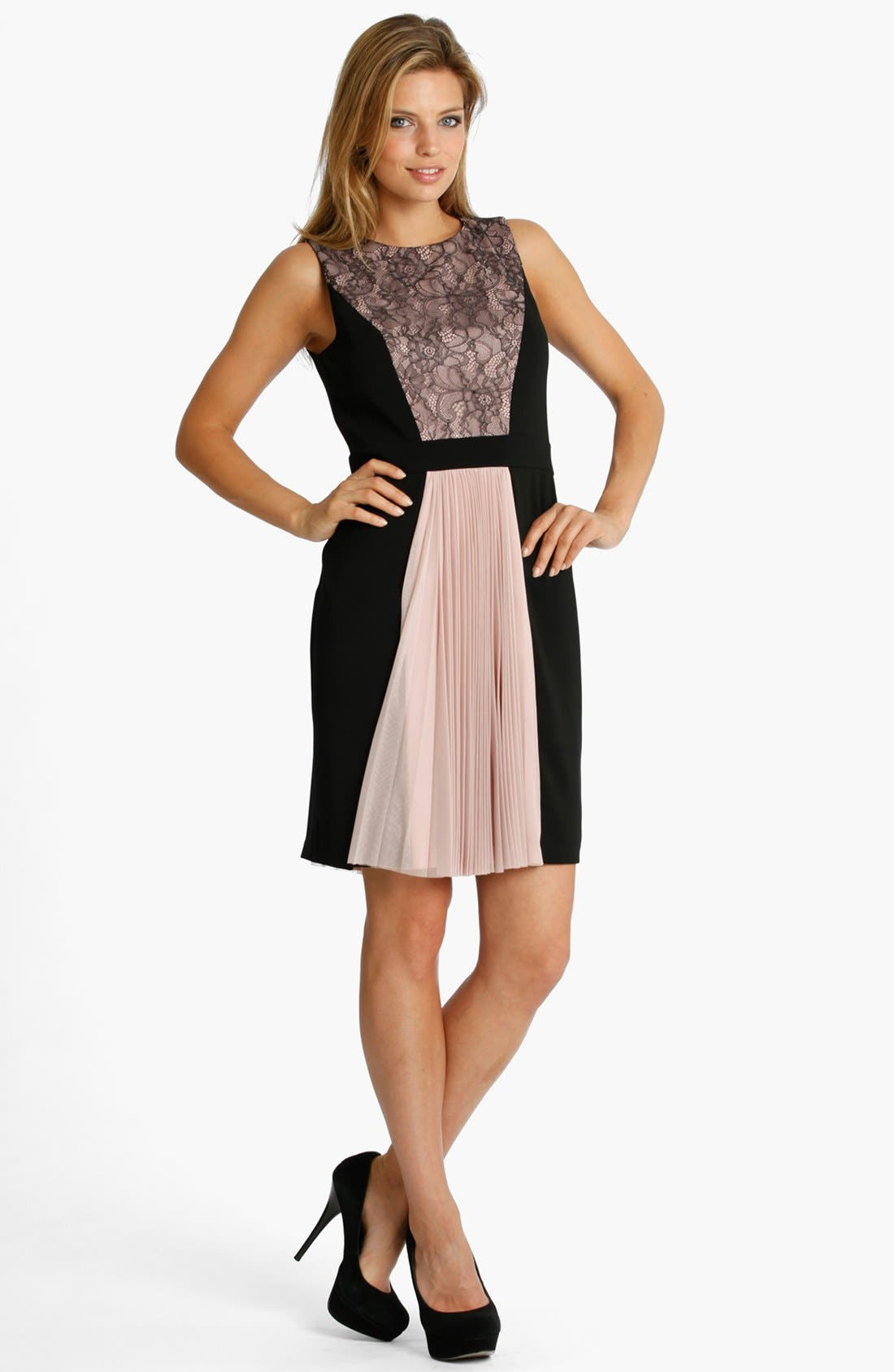Main Image - JS Collections Colorblock Mixed Media Dress