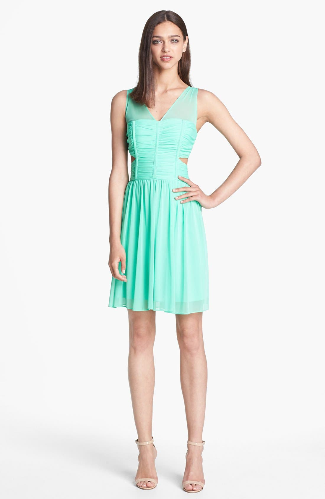 Main Image - Hailey by Adrianna Papell Side Cutout Mesh Dress