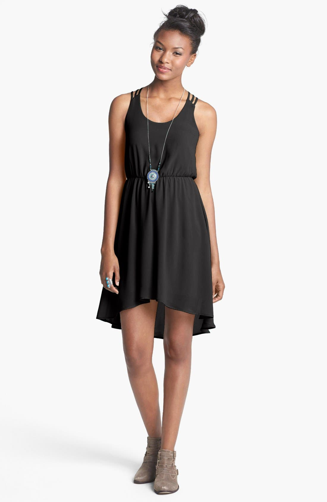 Alternate Image 1 Selected - Lush Strappy High/Low Dress (Juniors)