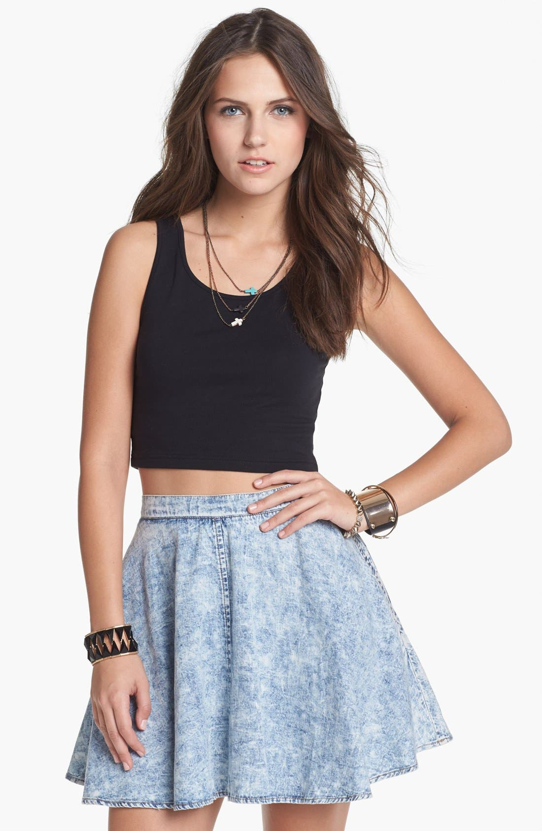 Alternate Image 1 Selected - Mimi Chica Acid Wash Chambray Skirt (Juniors)
