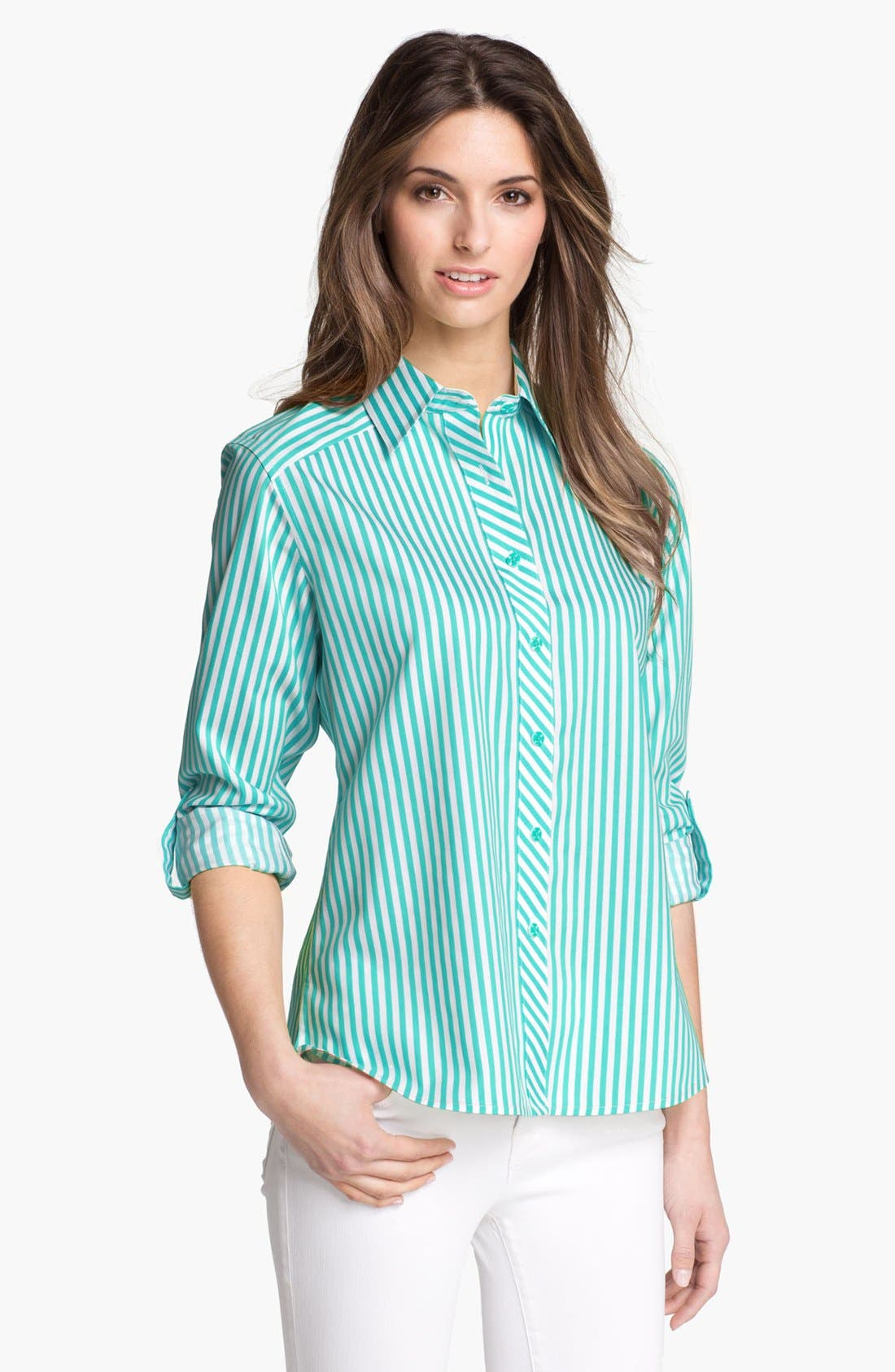 Alternate Image 1 Selected - Foxcroft Roll Sleeve Stripe Shirt (Petite)