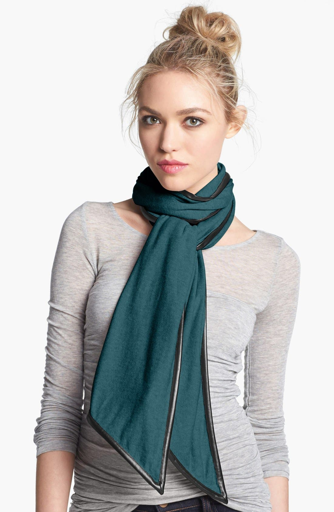 Main Image - Nordstrom Faux Leather Trim Scarf
