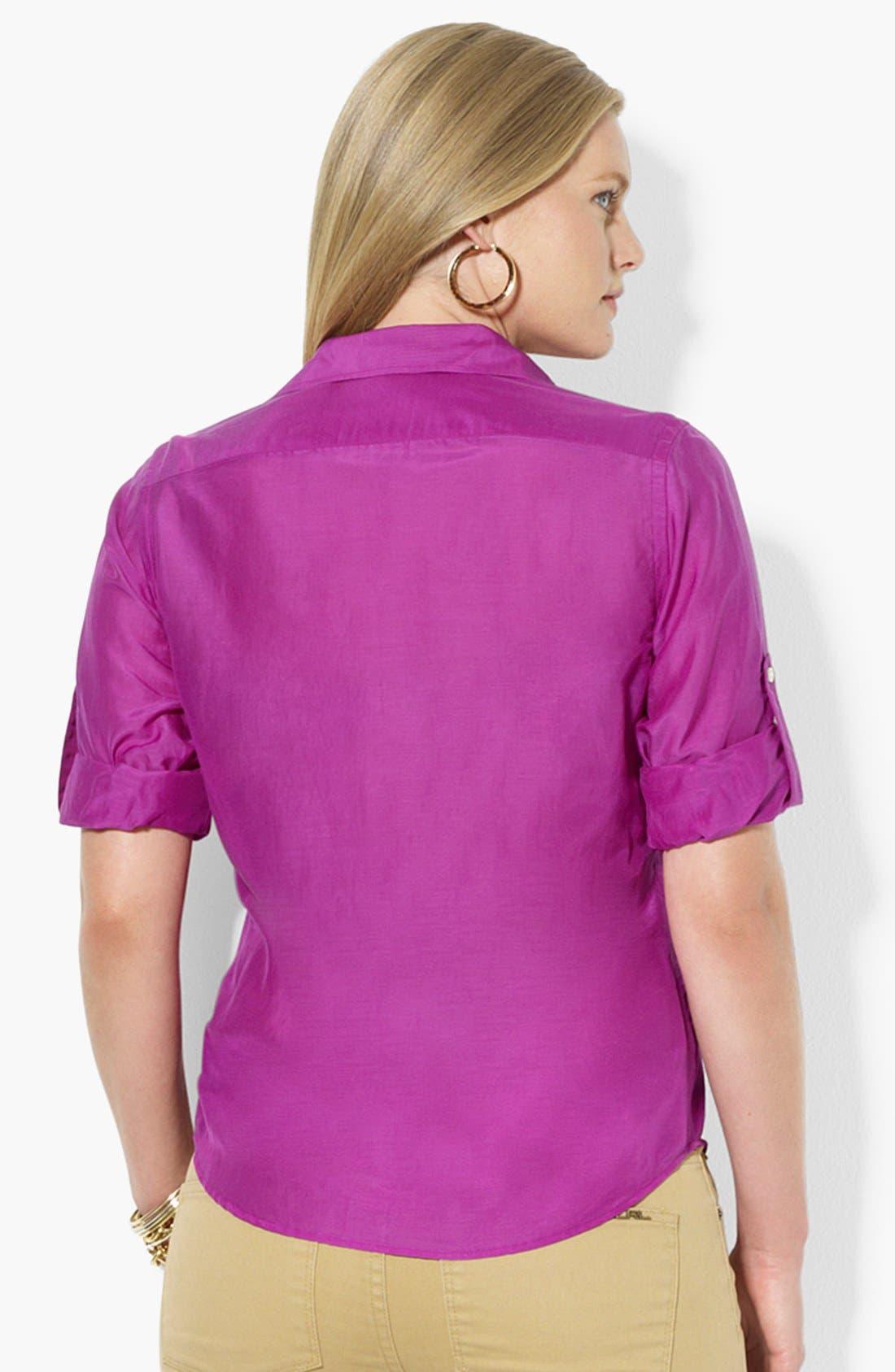 Alternate Image 2  - Lauren Ralph Lauren Cotton & Silk Work Shirt (Plus Size)