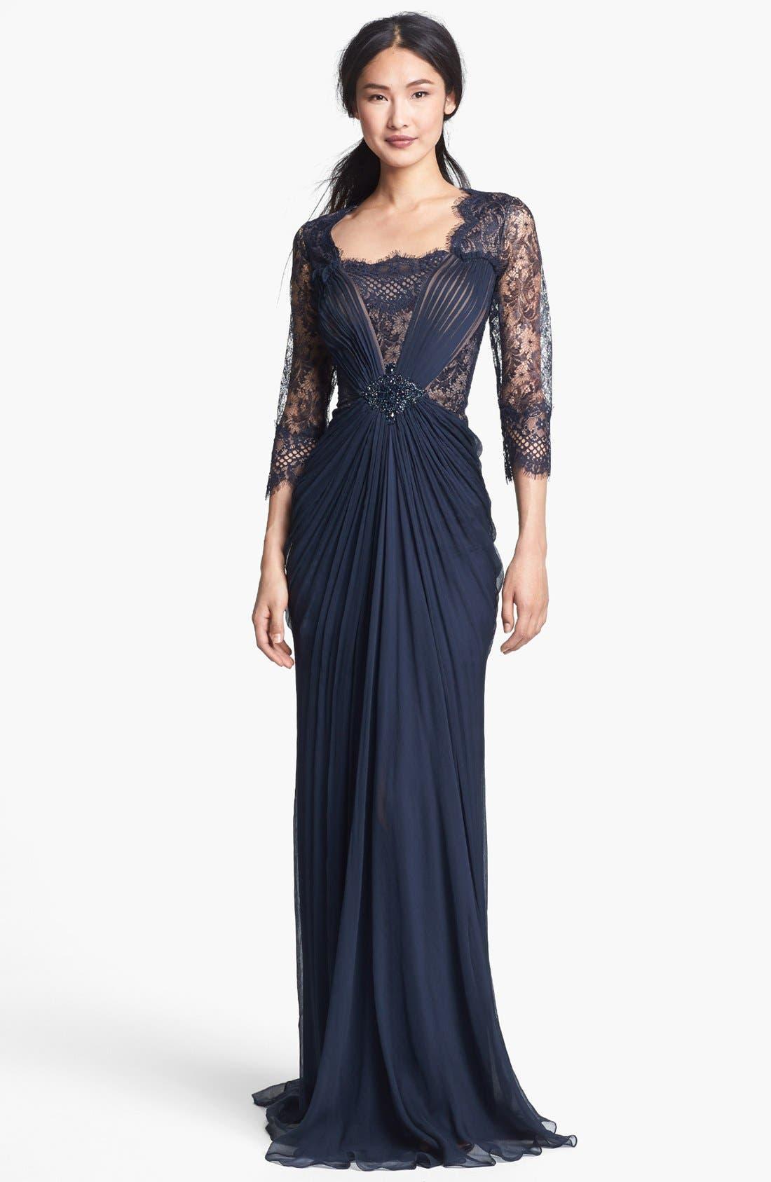 Alternate Image 1 Selected - Tadashi Shoji Embellished Lace & Silk Chiffon Gown