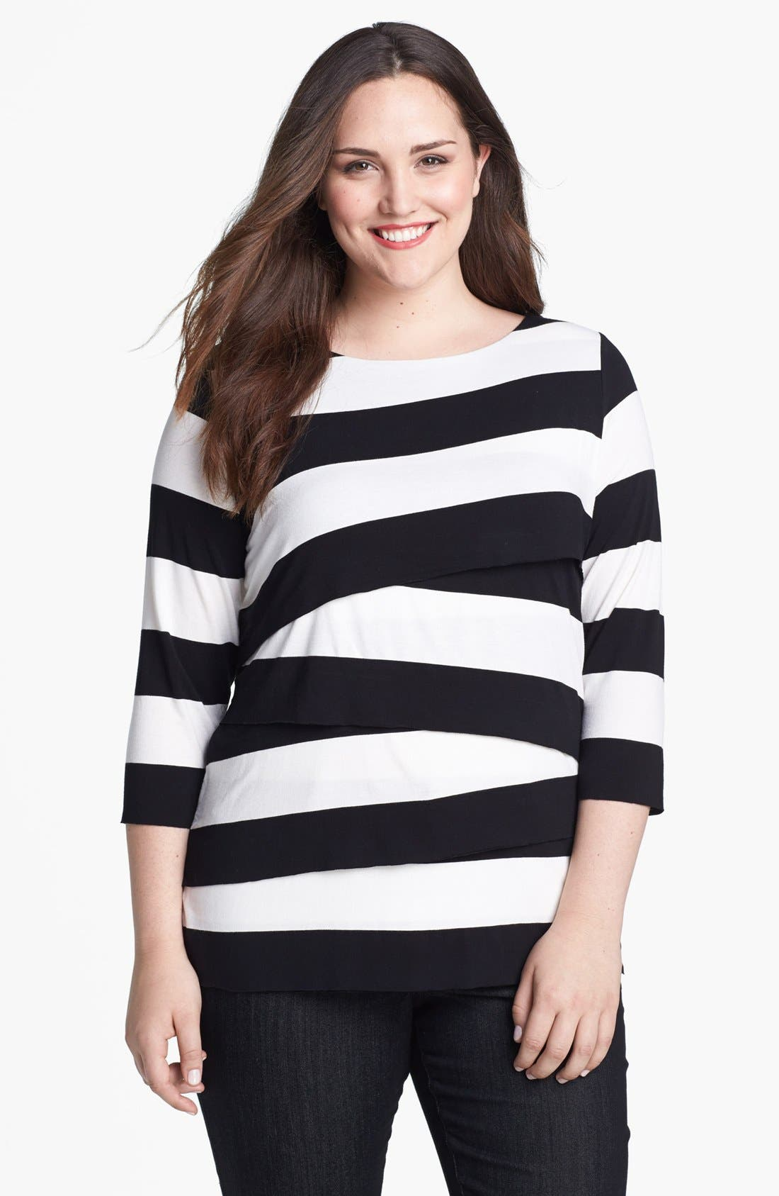 Alternate Image 1 Selected - Vince Camuto 'Zigzag' Stripe Tee (Plus Size)