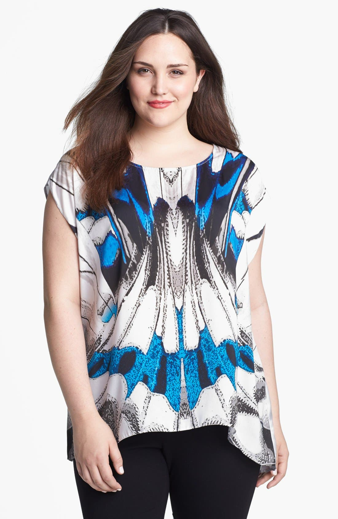 Alternate Image 1 Selected - Evans Butterfly Print Top (Plus Size)