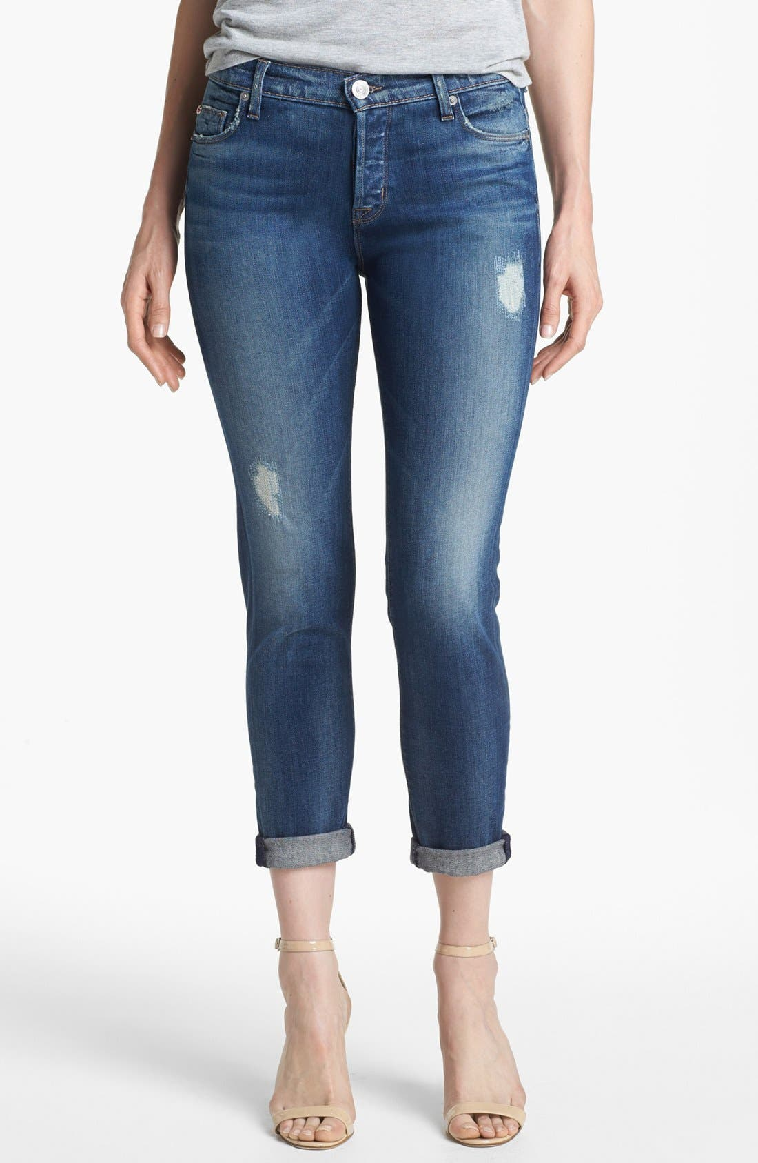 Main Image - Hudson Jeans 'Leigh' Distressed Boyfriend Jeans (Wilbur)