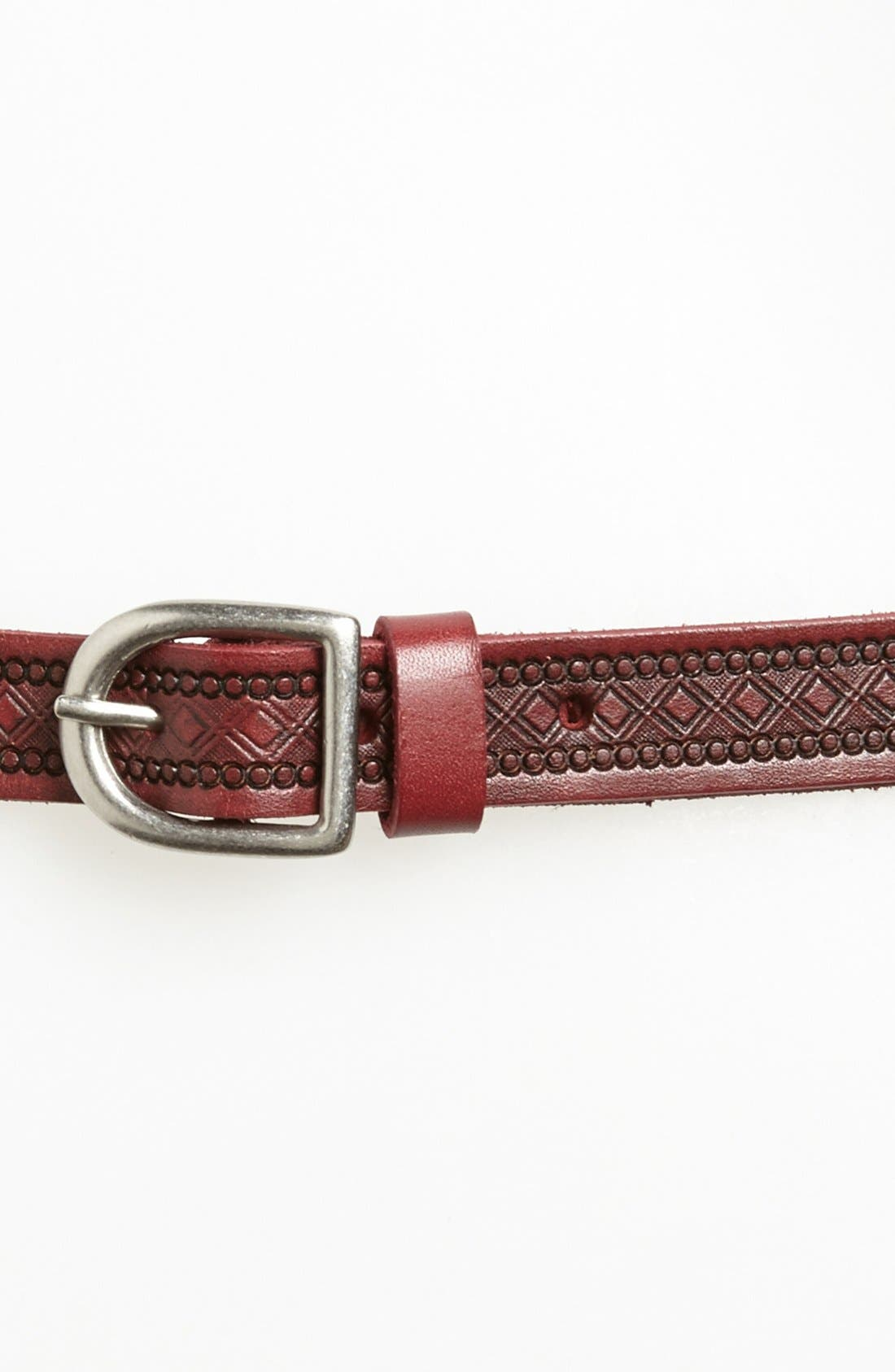 Alternate Image 2  - Tarnish Embossed Leather Belt