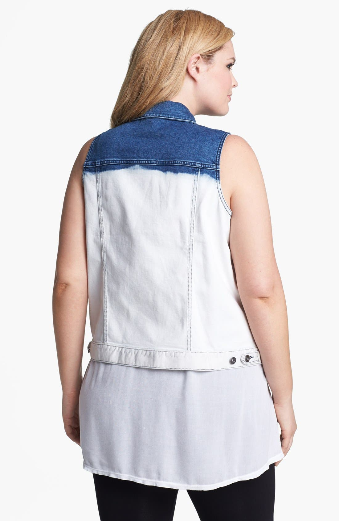 Alternate Image 2  - Two by Vince Camuto Dip Dye Denim Vest (Plus Size)