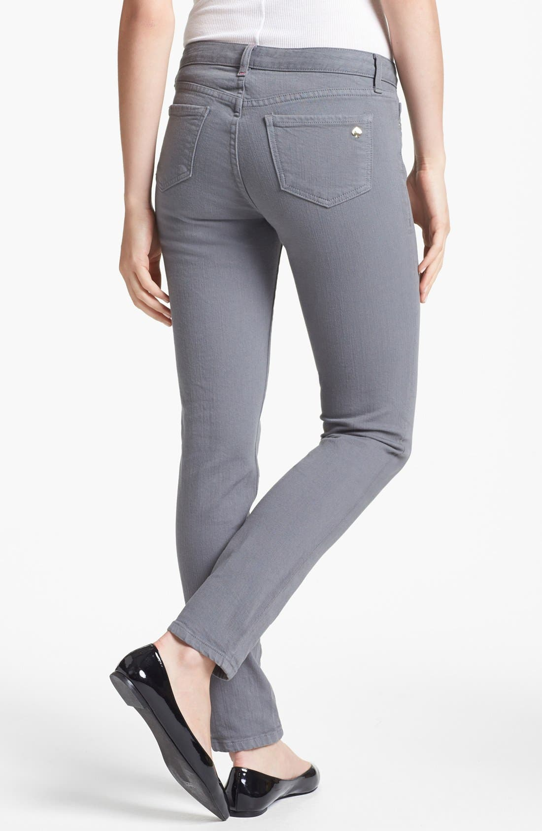 Alternate Image 2  - kate spade new york 'broome street' overdyed skinny jeans (Medium Grey)