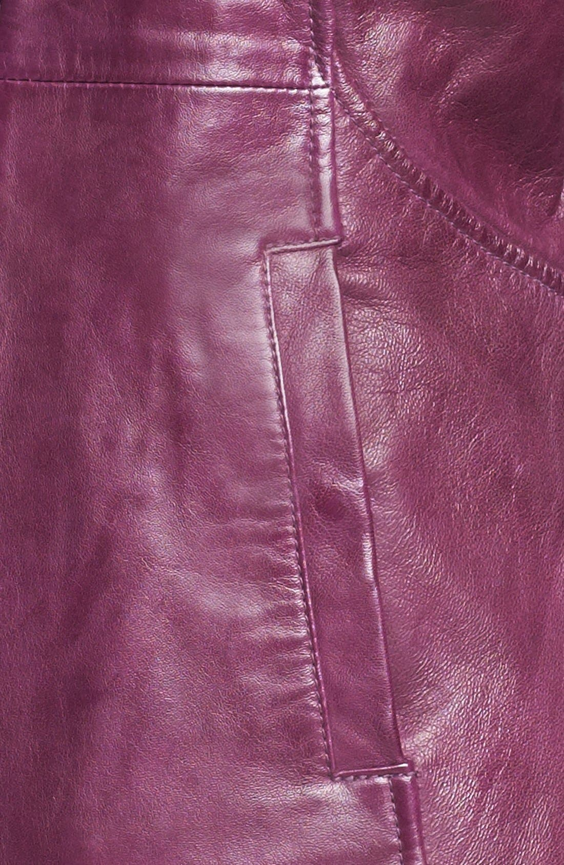 Alternate Image 2  - LaMarque Funnel Neck Leather Jacket